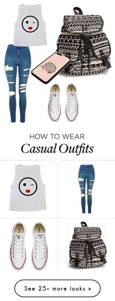 """""""Casual ❤️"""" by xo-anyaa on Polyvore featuring NLY Accessories, Topshop, Converse, Pusheen, backpacks, contestentry and PVStyleInsiderContest"""