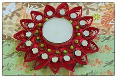 rising red-This collection is inspired by nature!! Our choice of color, embellishment & design is pre dominantly Indian.These water resistant quilled candle holders are great option They make good decorative item or you can just pick them for gifting..Each one is handmade by using paper strips, quilled to get desired designs.  www.facebook.com/craftstruck  craftstruck2012@gmail.com  #quilledart #quilling #quilledcandles #quilledtealightcandle #craftstruckdesignstudio #quilledhomedecor