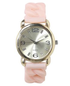 Chain Link Rubber Watch from Wet Seal #watch #pink #gold