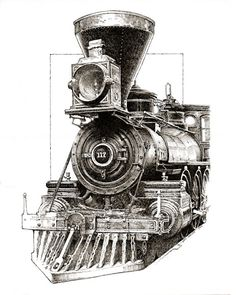 Pen and ink drawing of antique steam engine.