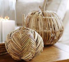 Faux Harvest Woven Pumpkins #potterybarn | $19.50 - $34.50