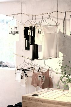 a good way to hang things when you don't want a lot of holes in the wall // underwear from Anna PS