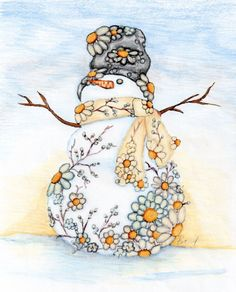 Art Print -Daisy Snowman Print Customize with Double- Mat in Black or White. $14.95, via Etsy.