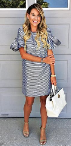 stripe dress with frill sleeves