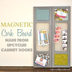 Recycled cabinet door.  Chore chat idea, but make the middle chalk board instead for extra notes.