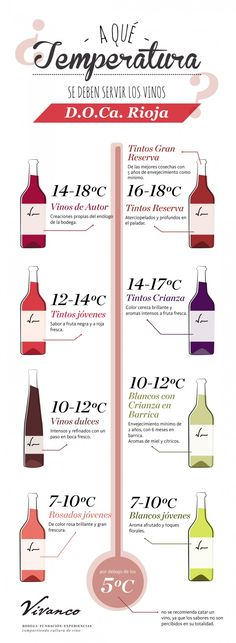 |¿Cuál es la temperatura ideal para servir un vino? Wine Drinks, Alcoholic Drinks, Cocktails, Guide Vin, Different Types Of Wine, Chateauneuf Du Pape, Spanish Wine, Homemade Wine, Milk Shakes