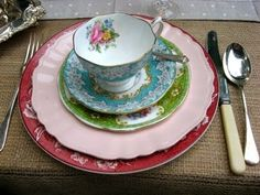 Take mismatching to a whole new level. Go out of your way to make sure nothing matches.  Need some extra mismatched china?  Visit flea markets, garage sales, and antique stores to pick up a variety of inexpensive tableware.