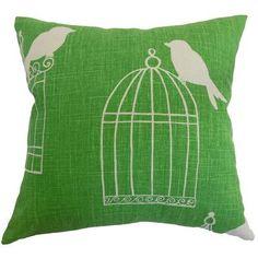 """The Pillow Collection Alconbury Birds Throw Pillow Cover Size: 20"""" x 20"""", Color: Aquadisiac"""