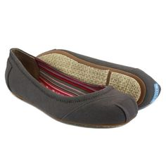 TOMS Ballet Flat Ash Gray Canvas Slip On Womens Size 6.5 *NEW*