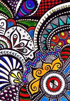 Fine liner zentangle doodle art design, coloured with carand'ache water colour crayon.