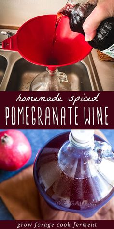 This spiced pomegranate wine is a delicious and festive homemade brew to make for the holidays! Recipe reprinted with permission from Artisanal Small-Batch Brewing by Amber Shehan, Page Street Publishing Co. Pomegranate Wine Recipes, Homemade Wine Recipes, Drink Recipes, Yummy Recipes, Homebrew Recipes, Fermentation Recipes, Mead Recipe, Wine Yeast