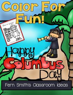 Columbus Day Fun! Color For Fun Printable Coloring Pages Perfect for writing center prompts for 3rd grade! #tpt #free and $paid