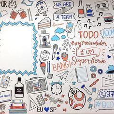 Um dos trechos da parede que eu desenhei lá no @blockcoworking! Esse espaço em branco é pra eles colarem cartazes da comunicação interna entre os coworkers, 💙🤓. Além de um monte de ilustração eu também desenhei o Wally, consegue achar ele aí no meio? #Lousa #OndeEstáOWally #PoscaCurte
