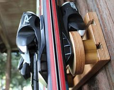 """4 Pair/19"""" Adjustable Button Ski Rack, With Traditional Wooden Buttons"""