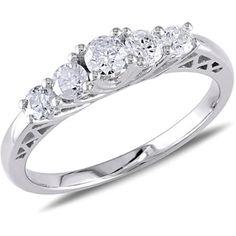 Miabella 1/2 Carat T.W. Diamond 10kt White Gold Five Stone Engagement Ring