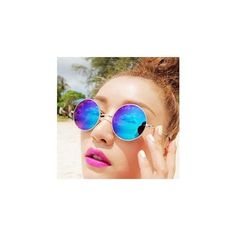 Round Sunglasses ($5.90) ❤ liked on Polyvore featuring accessories, eyewear, sunglasses, glasses, rainbow sunglasses, round frame glasses, gold frames glasses, metal glasses and metal sunglasses
