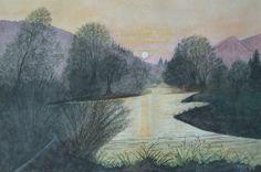 Sonnenuntergang am Fluß, U. Kretschmer