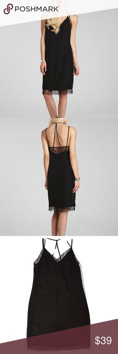 Black Lace Slip Dress by BCBGeneration Lace trim lends a touch of lovely to bcbgeneration's dainty slip-inspired dress. Polyester. Machine wash. V neck, sleeveless, lace trim, strappy open back, lined, pullover style. NWT! BCBGeneration Dresses Mini