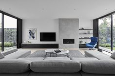 Lounge room love… those full height windows on both sides, natural lights for … Living Room Tv, Living Room Interior, Home Interior Design, Home And Living, Living Area, Design Interiors, Home Fireplace, Modern Fireplace, Living Room With Fireplace