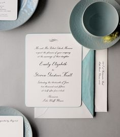 Something blue. Dempsey and Carroll wedding invitations never go out of style!