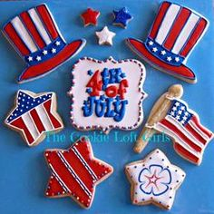 Fourth of July decorated sugar cookies collection ideas - stars, flag, Uncle Sam hat Cookie Connection Galletas Cookies, Iced Cookies, Cute Cookies, Royal Icing Cookies, Cookies Et Biscuits, Fancy Cookies, Frosted Cookies, 4th Of July Cake, 4th Of July Desserts