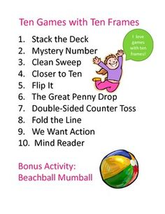 Ten new and exciting games to help kids learn about numbers as they work with ten frames!
