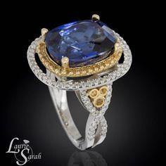 Tanzanite Ring Tanzanite Jewelry Double Halo by LaurieSarahDesigns, $11,299.82