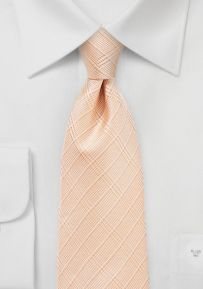 Summer Plaid Tie in Peachy Coral