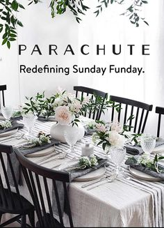 Decorate your table with Italian Linen from Parachute. Decorate your table with Italian Linen from P