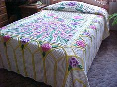 Excellent very plush peacock chenille bedspreadyellow by designer2, $239.00