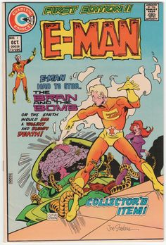 E-Man #1 F-, signed by Joe Staton on the cover, Joe Staton artwork and cover art begins, Origin and first E-Man, Intro Nova, The Knight back-up story with Tom Sutton artwork. $19