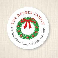 christmas address labels ornaments christmas circle return address