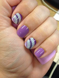 Love the purple nails! No salon needed! Wisteria and Purple Herringbone from Jamberry. laurareckeweg.jamberrynails.net