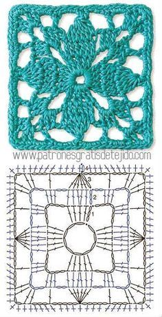Ideas Crochet Granny Square Pattern Lace For 2019 Crochet Stitches Free, Crochet Motifs, Granny Square Crochet Pattern, Crochet Diagram, Crochet Squares, Crochet Chart, Crochet Granny, Granny Squares, Crochet Needles