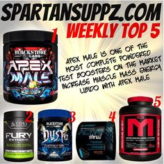 Spartansuppz weekly Top 5 is back! 1. @blackstonelabs Apex Male.  2. @corenutritionals Fury Extreme. 3. @blackstonelabs Dust V2. 4. @gethybrid_net ACTV8 Shred.  5. @mtsnutrition Machine Whey. #top5 #spartansuppz #apexmale #fury #corefury #dust #dustv2 #actv8 #mts #machinewhey #spartanscrew #blackstone #blackstonelabs #corenutritionals #hybrid #gains #supplements #supps #strong #bodybuilder #bodybuilding #fitness #fitspo #fit #like4like #like4like #photooftheday
