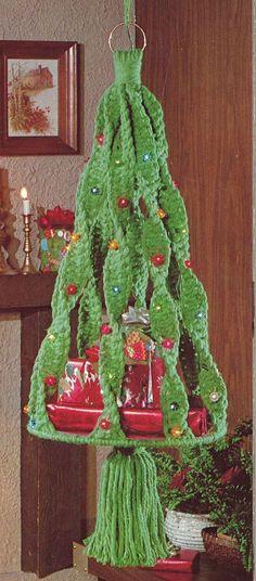 Navidad Maxi  década de 1970 Macrame Xmas árbol muñeco de