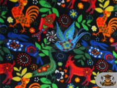 """Fire flame fleece fabric with a black background sold by the yard 60/"""" wide"""