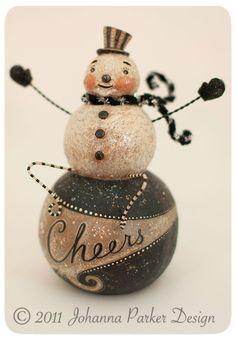 Original folk art snowman by Johanna Parker