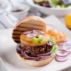 Turkey Teriyaki Burgers With Grilled Pineapple