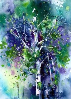"*Watercolor Painting - ""Forest Mysteries"" by Deborah Swan-McDonald blue, green, purple tree Watercolor Images, Watercolor Trees, Watercolor Landscape, Watercolour Painting, Painting & Drawing, Watercolours, Painting Trees, Wow Art, Tree Art"
