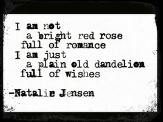 I am not a bright red rose full of romance. I am just a plain old dandelion full of wishes.
