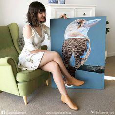 Original Kookaburra (Fierce) Eliza arose art - bris Australian Animals, Australian Art, Bird Book, Bird Embroidery, Bird Art, Original Paintings, The Originals, House Ideas, Oil