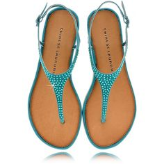 CHINESE LAUNDRY GAME SHOW Teal Crystal T-bar Sandals ($71) ❤ liked on Polyvore featuring shoes, sandals, flats, sapatos, buckle sandals, flat shoes, ankle tie sandals, crystal sandals and ankle strap sandals