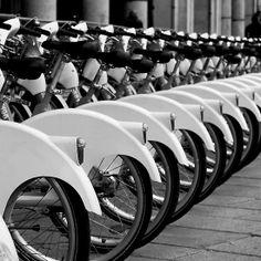 Bike station in Milan B/W