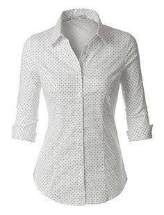 Womens Polka Dots Button Down Sleeve Tailored Shirt: Whatever the occasion is, this polka dots button down sleeve tailored shirt will be a perfect fit. This comfortable wash-and-wear shirt is indispensable for the workday White Button Down Shirt, Button Up Shirts, White Shirts, Plaid Outfits, Tailored Shirts, Formal Shirts, Roll Up Sleeves, Office Outfits, Ideias Fashion