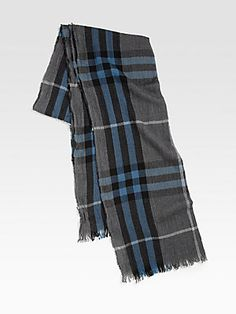 Burberry Giant-Check Merino Wool/Cashmere Scarf