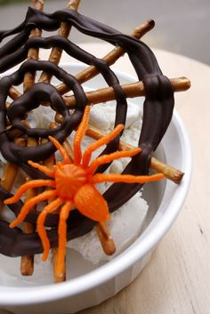 Pretzel and chocolate spider webs. The kids would set the pretzels up and I would squeeze the chocolate and let them place the spider.