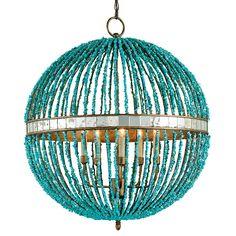 Alberto Chandelier from Currey and Company. Turquoise beads with antique mirror detailing. Hand-beaded and beautiful for a entry chandelier or lighting for a breakfast table. Turquoise Chandelier, Coastal Chandelier, 5 Light Chandelier, Beaded Chandelier, Turquoise Beads, Coastal Lighting, Globe Chandelier, Turquoise Pendant, Circular Chandelier