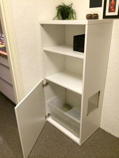 Ikea besta hack for hallway litterbox...conceal cuts with wipeable or washable fabric or other paw cleaning material attached with self-adhesive hook and loop tape #catsdiyikea
