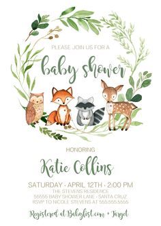 Woodland Baby Shower Theme Boy, Gender Neutral, Woodland animals Baby Shower Invitations, Edit today!
